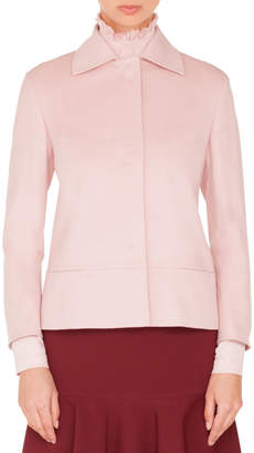 Akris Punto Spread-Collar Press-Button Bracelet-Sleeve Wool Jacket