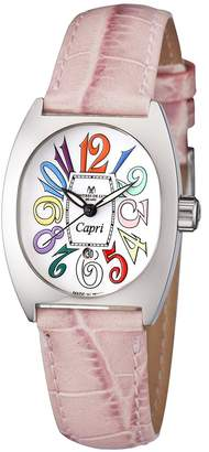 Montres de Luxe Women'sCP3 AC QZ BIA PNK Leather Watch.