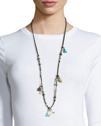 Johnny Was Adam Suede Silvertone Tassel Necklace