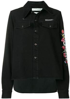 Off-White embroidered flowers denim shirt
