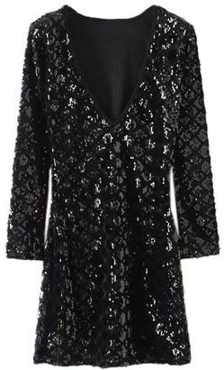 Goodnight Macaroon 'Poppy' Deep V-Neck Sequined Mini Dress (2 Colors)