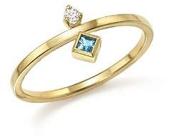 Chicco Zoë 14K Yellow Gold Wire Ring with Stacked Aquamarine and Diamond - 100% Exclusive