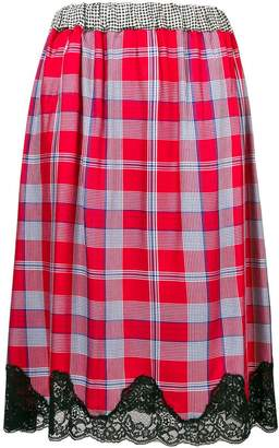 Semi-Couture Semicouture lace hem checked skirt