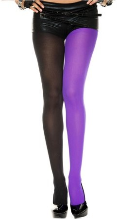 Music Legs Opaque jester tights 748-BLACK/PURPLE