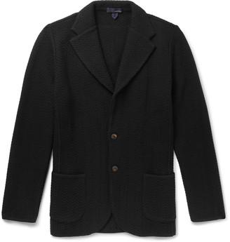 Lardini Slim-Fit Herringbone-Knit Wool Cardigan