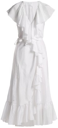 Loup Charmant - Callela Ruffle Trimmed Silk Dress - Womens - Nude