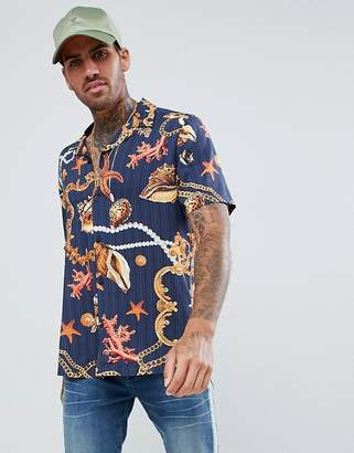 Asos Design DESIGN regular fit viscose shirt with seashell baroque print