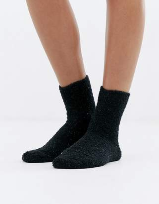 Monki super soft glitter socks in black