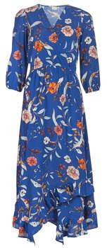 Cream ALLY women's Long Dress in Blue