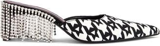 Area Crystal Fringe Kitten heel in Black Houndstooth | FWRD