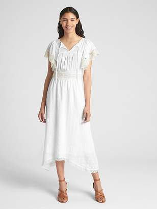 Gap Lace-Trim Flutter Sleeve Midi Dress
