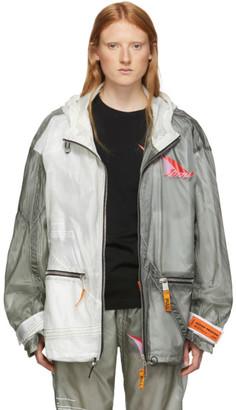 Heron Preston SSENSE Exclusive Grey and White JUMP Jacket