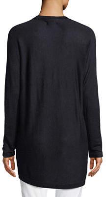 Joan Vass Dolman-Sleeve Open-Front Jersey Cardigan