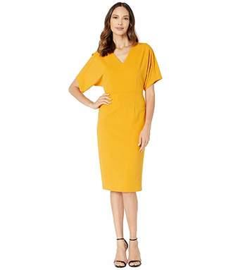 Donna Morgan Kimono Sleeve V-Neck Sheath Crepe Dress