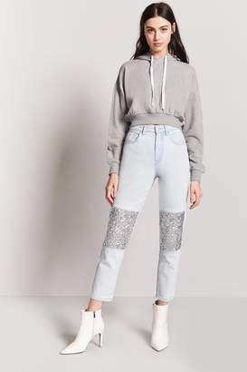 Forever 21 Sequin-Panel Ankle Jeans