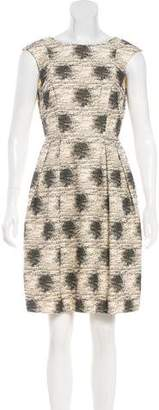Carmen Marc Valvo A-Line Patterned Dress