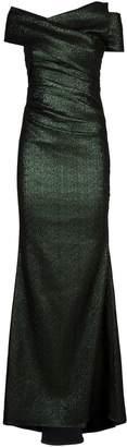 Talbot Runhof Ruched Glitter Gown