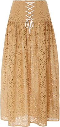 Marysia Swim Riviera Cotton-Eyelet Maxi Skirt