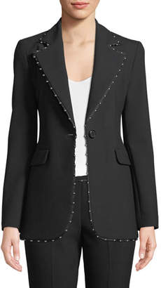 Emporio Armani One-Button Stretch-Jersey Blazer w/ Beaded Ribbon Trim