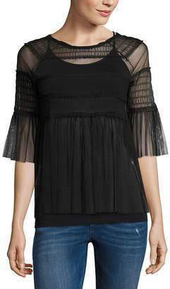 BELLE + SKY 3/4 Sleeve Round Neck Mesh Blouse
