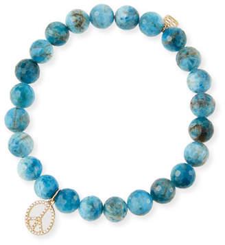 Sydney Evan 14k Apatite & Diamond Peace Sign Bracelet
