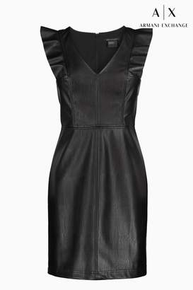 Next Womens Armani Exchange Black Faux Leather Dress