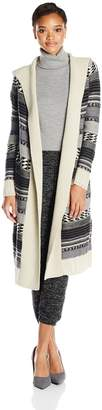 BB Dakota Women's Kaiden Hooded Pattern Sweater Cardigan
