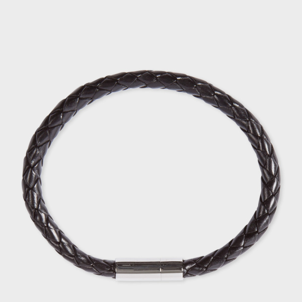 Paul Smith Men's Black Leather Plaited Bracelet