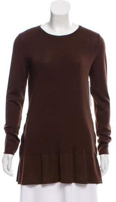 Alberta Ferretti Virgin Wool Ruffled Sweater