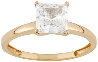 10k Gold Cubic Zirconia Solitaire Engagement Ring