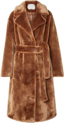 Tibi Oversized Faux Shearling Coat - Brown