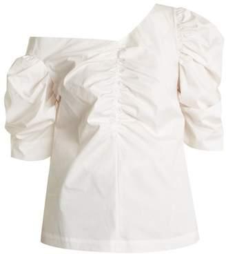 Isa Arfen One-shoulder gathered cotton top