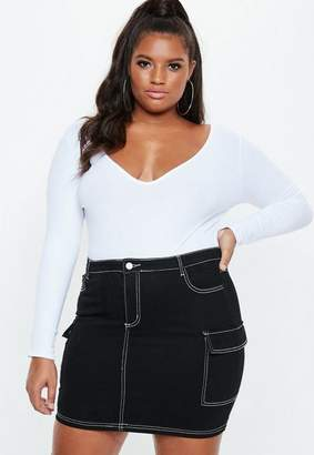 Missguided Plus Size Black Contrast Stitch Denim Skirt