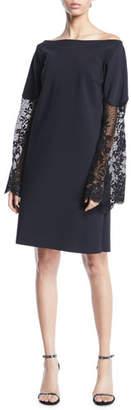 Chiara Boni Alala Off-the-Shoulder Lace-Sleeve A-line Dress