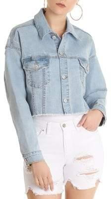 Cropped Raw-Edge Denim Jacket