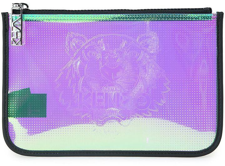 KenzoKenzo Iridescent Metallic-pvc A4 Tiger Pouch