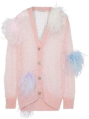 Christopher Kane Embellished Open-Knit Mohair-Blend Cardigan