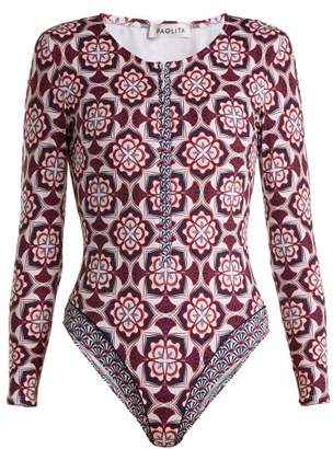 Paolita - Talavera Rash Guard Swimsuit - Womens - Purple Multi