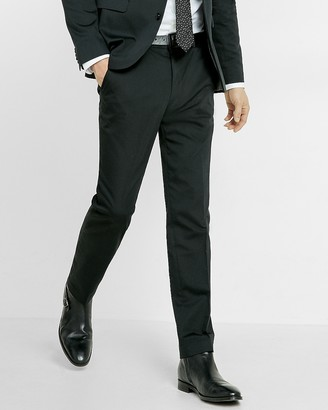 Express Extra Slim Black Cotton Sateen Suit Pant