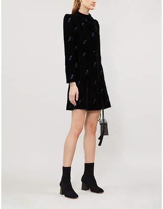Maje Ripicow embroidered velvet mini dress