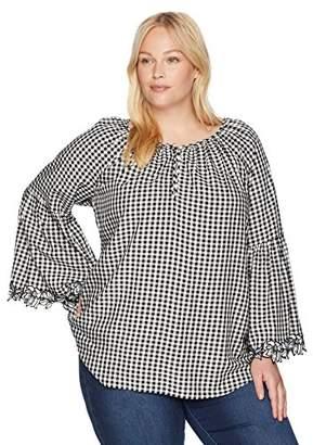 Karen Kane Women's Plus Size Gingham Bell Sleeve Top