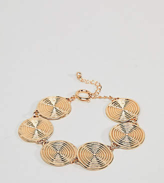 Asos DESIGN Curve Statement Swirl Coin Bracelet
