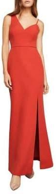BCBGMAXAZRIA Asymmetrical Bodice Sleeveless Gown