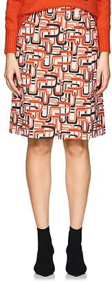Prada Women's U-Print Cotton Wrap-Front Skirt