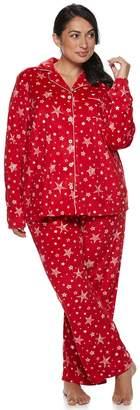 Croft & Barrow Plus Size Velour Shirt & Pants Pajama Set