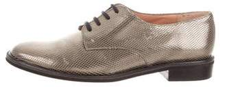 Robert Clergerie Metallic Round-Toe Oxfords