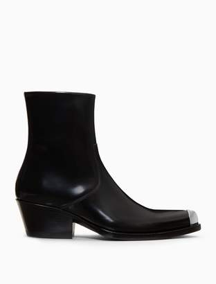Calvin Klein western ankle boot in calf leather with silver cap point toe plate