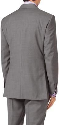 Silver Slim Fit Cross Hatch Weave Italian Suit Wool Jacket Size 36 Regular