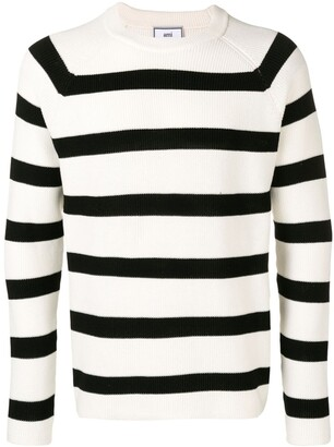Ami Paris Striped Crewneck Sweater Raglan Sleeves