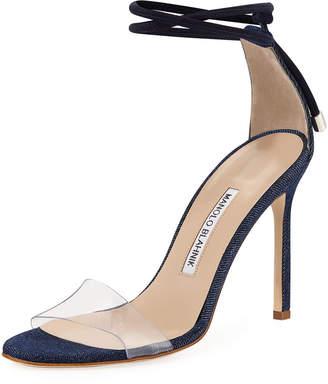 Manolo Blahnik Estro Fabric & PVC Ankle-Wrap Sandal